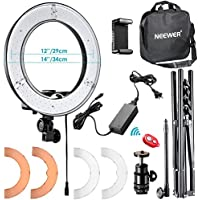 Neewer RL-12 LED Ring Light 14 outer/12 on Center with Light Stand, Soft Tube, Filter, Bluetooth Receiver for Makeup, Camera/Phone Video Shooting