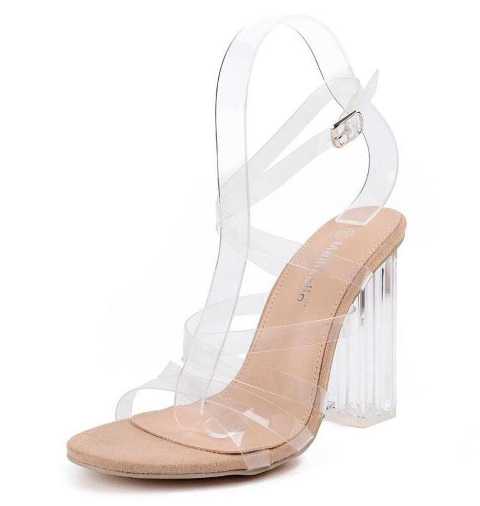 GLTER Mujeres Ankle Strap Bombas Cristal Encantador Con Espalda De Tacón Alto Transparente Sandalias De Pie Cruzado Sandalias Zapatos De Corte Albaricoque , apricot , 35 35|apricot
