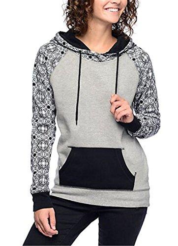 Outwear Pullover Casuale Grey Elastico Slim Hoodie Giacca Sport Invernali Camicia Stampato Besthoo Elegante Donna Felpe Tasca Tumblr Cappuccio Maglia Cappotto Con fOUzUw1q
