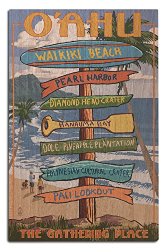 Waikiki Beach, Oahu, Hawaii - Destinations Sign (12x18 Wood Wall Sign, Wall Decor Ready to (Plantation Pineapple Wall)