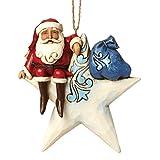 Jim Shore for Enesco Heartwood Creek Santa on Star Ornament, 4.5