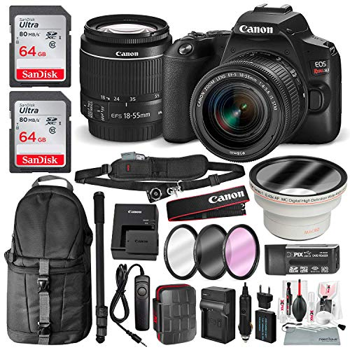 Canon EOS Rebel SL3 DSLR Digital Camera with 18-55mm Lens + 64GB + Cases + Battery Kit + Premium Accessory Bundle (Best Dslr Camera On The Market 2019)