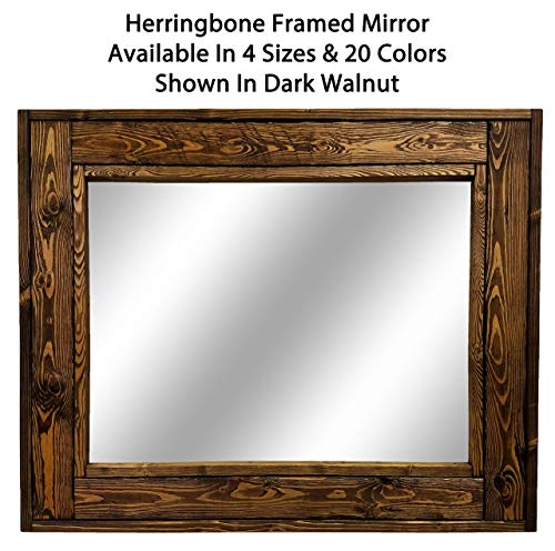 Herringbone Large Mirror - Double Vanity Mirror, Available in 20 Colors: Shown in Dark Walnut Walnut - Reclaimed Wooden Framed Mirror - EX Large Wall Mirror - Rustic Modern Home - Rustic