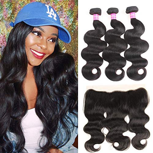 VRBest Hair Brazilian Body Wave with Lace Frontal Ear to Ear 13x4 Closure with Bundles 8A 100% Unprocessed Virgin Body Human Hair Bundles Free Frontal with Extensions Black Color (18 20 22+16 frontal)