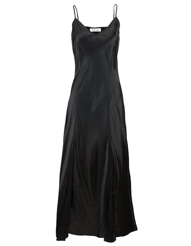 Eva B. Bitzer Silk Classic Black Spaghetti Strap Long Nightdress 27319898