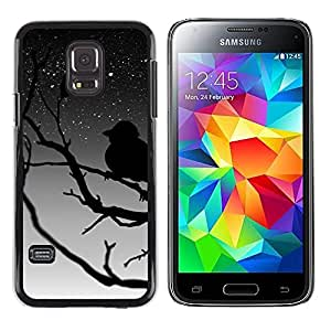 QCASE / Samsung Galaxy S5 Mini, SM-G800, NOT S5 REGULAR! / árbol pájaro estrellas cielo rama noche soñando / Delgado Negro Plástico caso cubierta Shell Armor Funda Case Cover