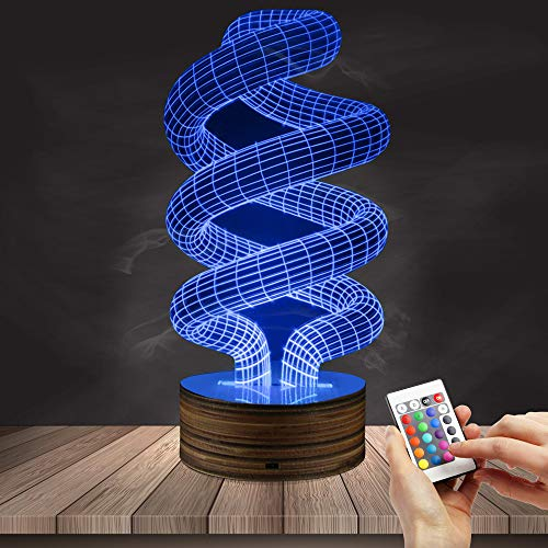 3D LED Lamp Night Light Spiral, Remote Control 16 Colors USB Operated Table Dimmable Night Light with Touch Switch for Kids, 3D Lights Optical Illusions Desk Lamp for Room Decor