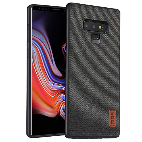 Fabric Back Cover - Samsung Galaxy Note 9 Case, Anti-Scratch Shock-Absorbing Fabric Business Men Covers with Silicone Soft Edges and Great Grip, Fully-Protective and Compatible for Samsung Galaxy Note9(Black)