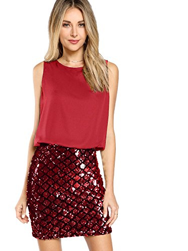Romwe Women's Sexy Layered Look Fashion Club Wear Party Sparkle Sequin Tank Dress Red S