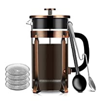 French Press Coffee Maker Premium 8 Cup 34-Ounce with 4 Level Filtration System and 2 Spoons for Measuring and Mixing, Stainless Steel and Highly Heat-Resistant Borosilicate Glass by LanTe