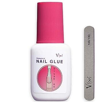 Pegamento de uñas extrafuerte, de Vixi, de calidad profesional, para pegar uñas postizas de acrílico y diamantes de imitación, incluye lima pequeña, ...
