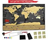 Scratch Off World Map Poster | Large Ultimate 2018 | US States Outline, 252 Country Flags | Full Accessories, Map Pins, Ebook | Track Your Adventures | Perfect Gift for Travelers | Travel Tracker Map