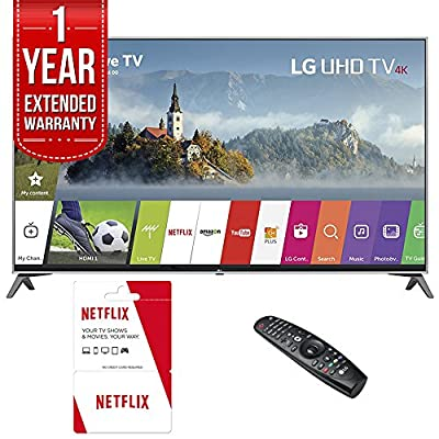 LG UJ7700 UHD 4K HDR Smart LED TV (2017 Model) with 6 Months of Netflix Service Plus 1 Year Extended Warranty