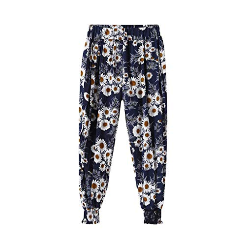 ANJUNIE Casual Children Girls Kids Loose Leggings Flowers Dance Bloomers Trousers Printed Pants(Navy,130) -