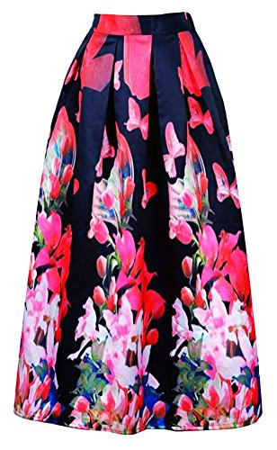Alaroo Floral Print Red Flower Full Length Black Maxi Skirt With Pleat,One Size