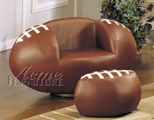 Football Swivel - 2pc Kid's Football Swivel Chair and Ottoman Set