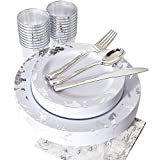 NERVURE 175PCS Silver Marbling Disposable Plastic Plates and Tableware Set:25 Dinner Plates,25 Dessert Plates, 25 Forks,25 Knives, 25 Spoons, 25 Cups,25 Napkins.