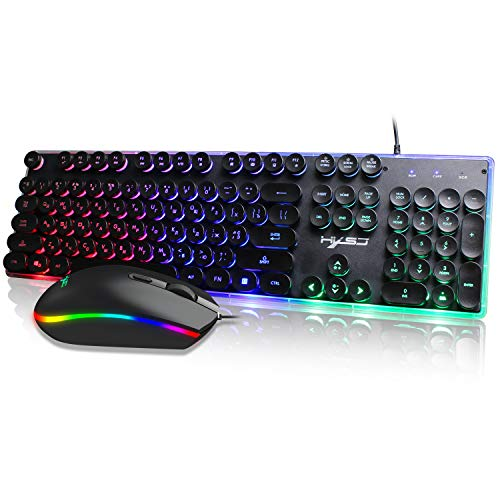 Kybers Vintage Cyber Punk Style Backlit Keyboard & Mouse - Unique Round Design - Full Size 104 Keys - Russian Keyboard with Colorful Mice for PUBG CSGO