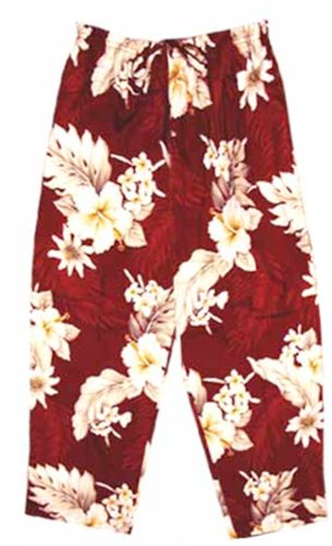 Pacific Legend Womens Plumeria Hibiscus Feather Fern Capri Pants in Red - M by Pacific Legend