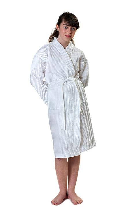Childrens Kimono Waffle Dressing Gown Bathrobe, Age 4, White: Amazon ...