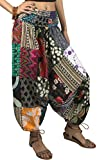 Tribe Azure 100% Cotton Harem Pants Colorful Summer Hippie Yoga Boho Casual Fashion Women (Large)