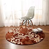 GIY Bohemian Paisley Round Area Rugs Living Room Carpet Circular Children Bedroom Rug Bathroom Mats Home Decorate Fashion Non-Slip Modern Runners Wine Red 3.5' X 3.5'