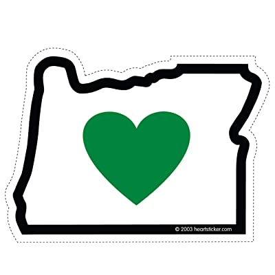 Heart in Oregon Sticker 3.5 Inch | OR State Shaped Label| Apply to Mug Phone Laptop Water Bottle Decal Cooler Bumper | Green Heart Portland Ducks Beavers 503 Tree Stag Home Love Mt Hood PNW PCT: Automotive