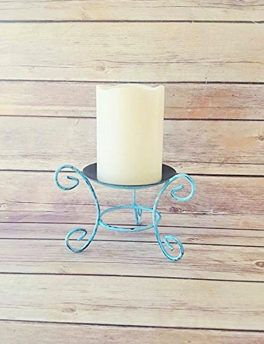Turquoise Metal Candle Holder ()