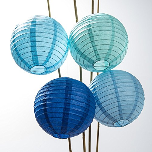 Luna Bazaar Paper Lanterns (8-Inch, Parallel Style Ribbed, Multicolor Blues, Set of 12) - Rice Paper Chinese/Japanese Hanging Decorations - for Home Decor, Parties, and Weddings