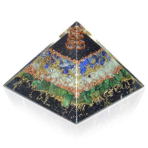 - New Orgone Pyramid for Healing Heart | Black Tourmaline | Lapis Lazuli | Amazonite | Green Jade Orgonite Pyramid for EMF Protection - Crystal Chakra Stone Pyramid