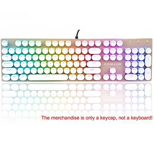 Round Retro Style Key Cap Double Shot Injection 104 keys Backlit Keycap For Mechanical Gaming keyboards (White Key Caps)