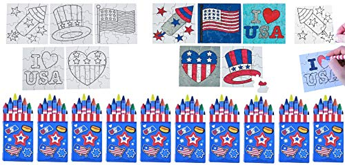 Patriotic Color-Your-Own Puzzles & Crayons Set - Ten (10) Each 4