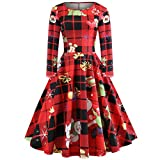 ODGear_Blouse Christmas Vintage Womens Dresses Casual Retro Christmas Tree Santa Claus Printed Long Sleeve Gown Party Dress