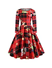 Women's Xmas Apparel Printing Vintage Gown Evening Party Christmas Dress
