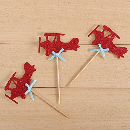 24 Pack Red Airplane Cupcake Toppers Kids' Party Decors - by Giuffi by Giuffi