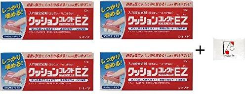 [With English instruction] Shionogi, CUSHION CORRECT EZ denture cushion adhesive 10g with Flushable Pocket Size Tissue [IZANAGI-DESIGN Original Pack] (4 Packs) by IZANAGI-DESIGN