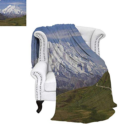 AlaskaFlannel blanketMcKinley Mountain in Denali National Park in Alaska Scenic Landscapecouch Blanket 60