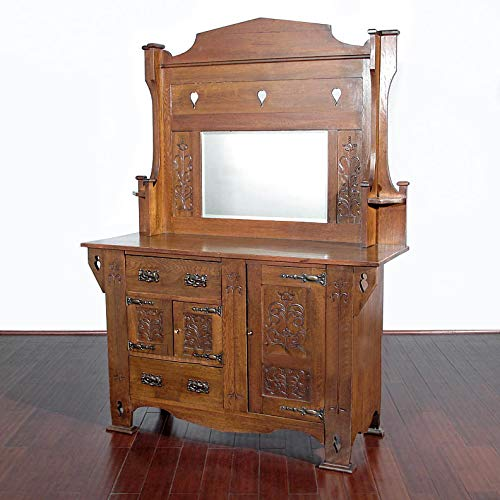 Antique Oak Arts & Crafts Mirrorback Buffet Sideboard (Arts And Crafts Sideboard)