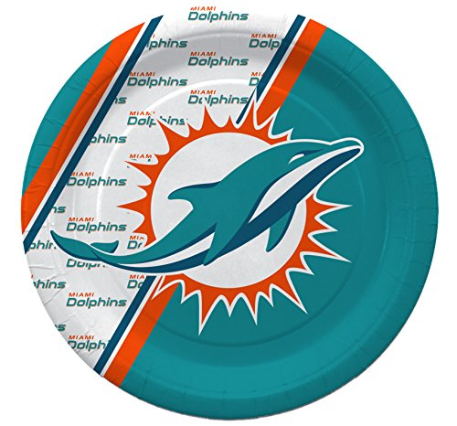 NFL Miami Dolphins Disposable Paper Plates, Pack of