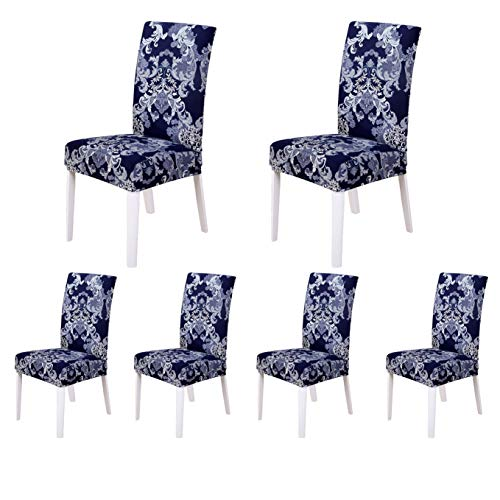 SoulFeel Set of 6 Stretch Chair Covers for Dining Room, Removable Fitted Seat Slipcovers Protector (European Retro Style) ()