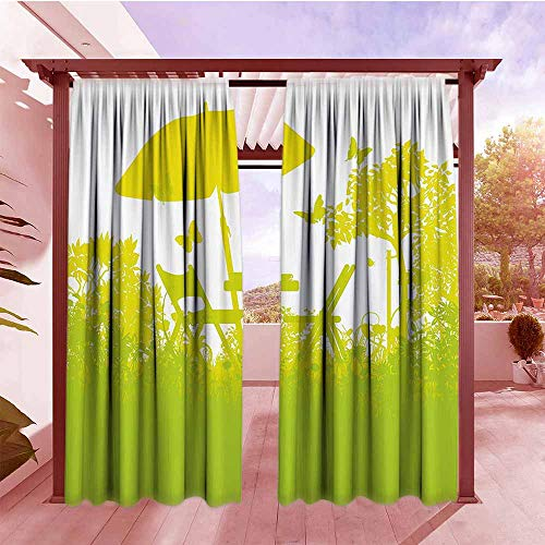 - DGGO Curtain Tailored Garden Two Chairs with Umbrella in The Garden Trees and Grass Coffee Time Print Hang with Rod Pocket/Clips W84x108L Light Green Lime Green
