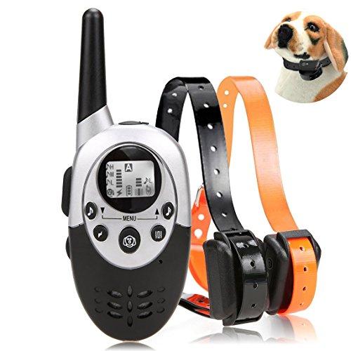 [2017 nouvelle version] Silaite 1100 Yard imperméable à distance rechargeable dressage collier chien avec bip, vibrations et pas de choc pour 2 chiens