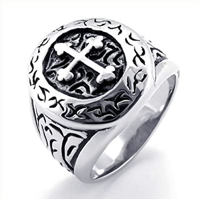 KONOV Jewelry Classic Vintage Cross Mens Ring, Stainless Steel Band, Silver