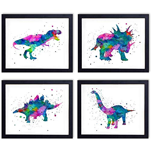 Dinosaur Watercolor Wall Art Print - Set of Four (8x10) Unframed Photos - Perfect Gift for Boys and Kids Rooms, Nursery - Chic Home Decor - Photo Home Wall Decor Picture