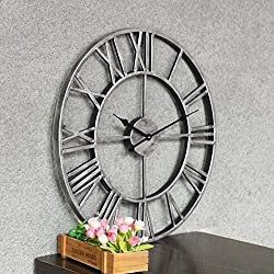 Skeleton Frameless Iron Decorative Wall Clock, Oversized 3D Vintage Metal Clock, Roman Numerals Large Non-Ticking Home Living Room Restaurant Cafe Bar,32inch