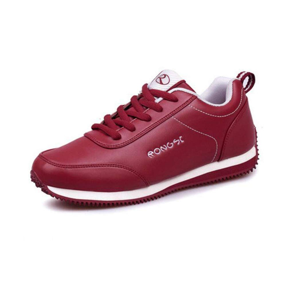 FH Sportschuhe mittleren Alters Rutschfeste leichte Mutter Reise Reise Reise Schuhe Leder Weichen Boden Schuhe Frauen (Farbe   rot Größe   EU36 UK4 CN36) 81a295