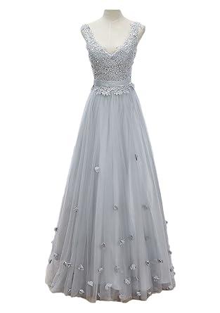 6feedbbca Amazon.com  vimans Women s Elegant Long V Neck Sequined Lace Prom ...