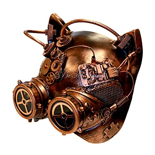 Steampunk Goggle Cat Mask Copper Masquerade Festival Rave Mardi Gras Cosplay Prom Costume Party Mens Womens Unisex Adult -