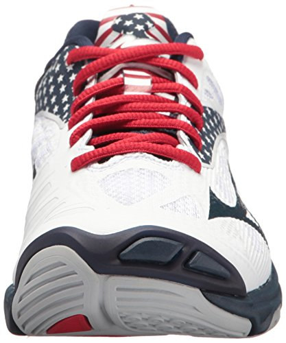 Z4 Red Volleyball Shoe White Mizuno MIZD9 Wave Lightning Women's Navy PZFxw6qSv