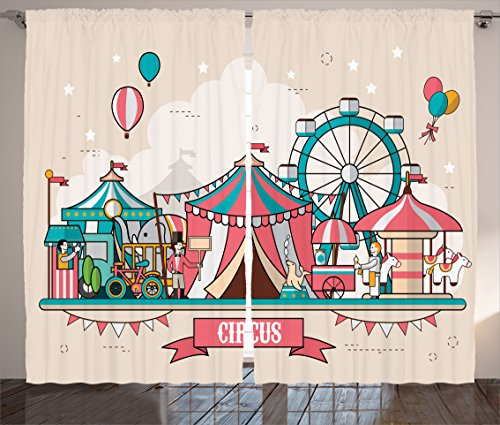 Ambesonne Circus Curtains, Circus Facilities Scenery in Flat Design Style Balloons Children Park Illustration, Living Room Bedroom Window Drapes 2 Panel Set, 108